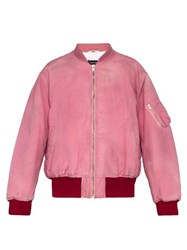 Calvin Klein 205W39nyc Logo Embroidered Distressed Cotton Bomber Jacket Pink