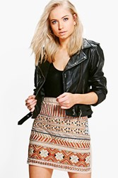 Boohoo Aztec Mini Skirt Taupe