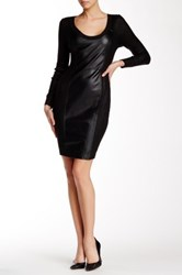 Tracy Reese Long Sleeve Leather Panel Dress Black