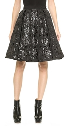 Ktz Embroidery Patchwork Pleated Skirt Black