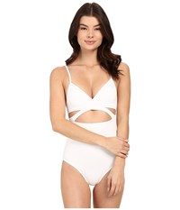 Vince Camuto Cruise Halter Maillot W Removable Soft Cups White Women's Swimsuits One Piece