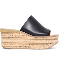 Chloe Camille Leather Platform Wedge Mules Black