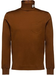 Prada Cotton Jersey Turtleneck Brown