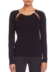 The Kooples Wool And Cashmere Silver Clip Pullover Black