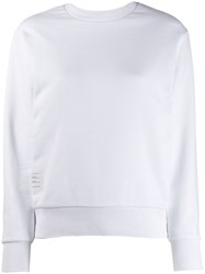 Thom Browne Back Tricolour Stripe Sweatshirt White