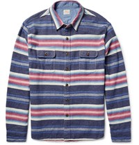 Faherty Durango Cpo Striped Cotton Overshirt Blue