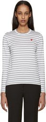 Comme Des Garcons White And Grey Striped Heart Patch T Shirt