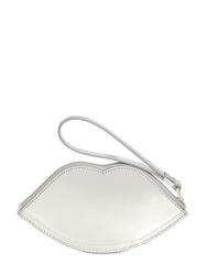 Lulu Guinness Lips Laminated Leather Wallet Silver