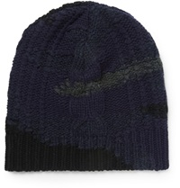 Valentino Camouflage Cable Knit Wool And Cashmere Blend Beanie Blue
