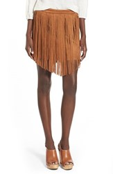 Junior Women's Jolt Fringe Faux Suede Skirt