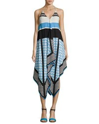 Cynthia Steffe Mariah Sleeveless Racerback Dress Blue Pattern