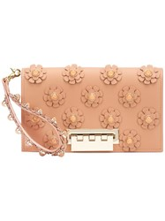 Zac Posen Large Flower Embellished Clutch Brown