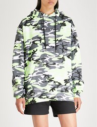 Wasted Paris Camo Logo Print Cotton Jersey Hoody Grey Neon Yellow