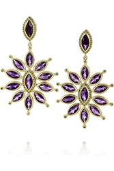 Ileana Makri Sea Flower 18 Karat Gold Amethyst And Tsavorite Earrings Purple