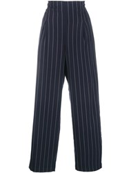 Ganni Pinstripe Wide Leg Trousers Blue