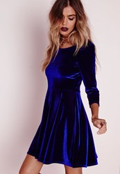 Missguided 3 4 Sleeve Velvet Skater Dress Blue