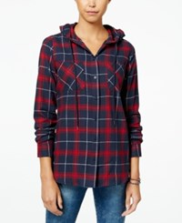 Polly And Esther Juniors' Plaid Flannel Hoodie Red Navy