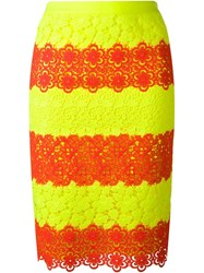 Moschino Striped Lace Pencil Skirt Yellow And Orange