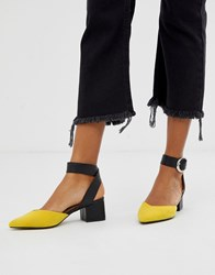 Blink Pointed Mid Block Heels Yellow