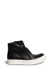 Rick Owens 'Island Dunk' Lace Less Leather High Top Sneakers Black