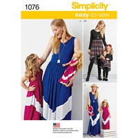 Simplicity Easy To Sew Child And Misses' Maxi Dress Sewing Pattern 1076