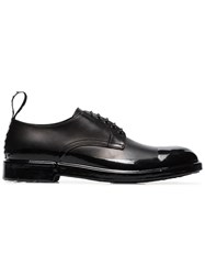 Dolce And Gabbana Black Logo Tab Leather Derby Shoes