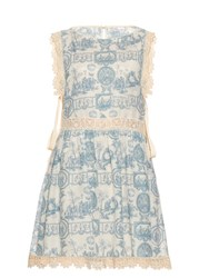 Red Valentino Toile De Jouy Lace Trim Dress Blue White