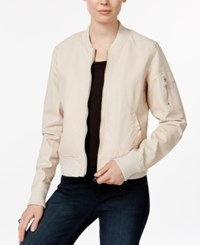 Madden Girl Faux Leather Bomber Jacket Nude