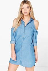 Boohoo Cold Shoulder Chambray Shirt Dress Blue