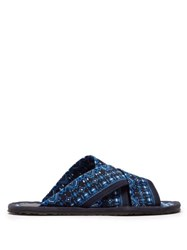Etro Geometric Printed Canvas Slides Blue