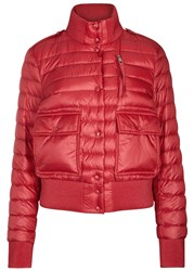 Moncler Silene Red Quilted Shell Bomber Jacket Pink