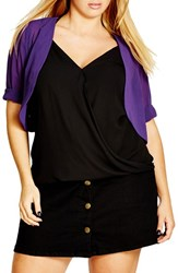 City Chic Plus Size Women's Sheer Chiffon Shrug Royalty