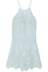 Miguelina Cicely Crocheted Cotton Playsuit Blue