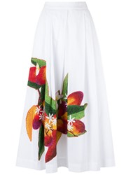 Isolda Mangoand Floral A Line Skirt Women Cotton 42 White