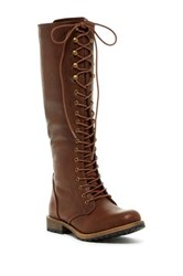 Elegant Footwear Dominique Lace Up Tall Boot Brown