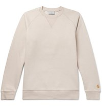 Carhartt Wip Chase Logo Embroidered Fleece Back Cotton Blend Jersey Sweatshirt Beige