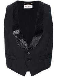 Saint Laurent Cropped Fitted Waistcoat Black