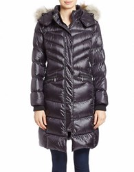 Bernardo Convertible Coyote Fur Trimmed Puffer Coat Dark Indigo