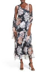 Komarov Women's Floral Print Ruffle Chiffon Gown And Shawl