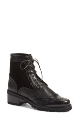 Stuart Weitzman Women's 'Brogen' Wingtip Boot Black Textured Calf