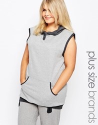 Pink Clove Lounge Hooded Sleeveless Sweatshirt Grey