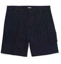 Raf Simons Stretch Cotton And Wool Blend Jacquard Shorts Blue