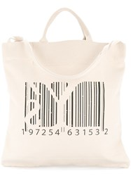 Y's Barcode Tote Bag White