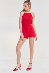 Oh My Love High Neck A Line Romper Red