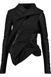 Rick Owens Wrap Effect Cotton And Leather Jacket Black