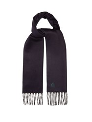 Dunhill Silk And Cashmere Blend Scarf Navy Multi