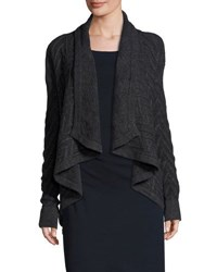 Three Dots Cable Knit Open Front Cardigan Charcoal