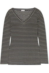 Brunello Cucinelli Metallic Striped Linen Blend Top Gray