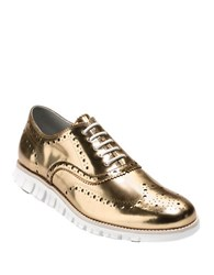 Cole Haan Zero Grand Wingtip Toe Leather Oxfords Gold