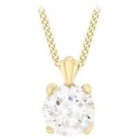 Ibb 9Ct Yellow Gold Cubic Zirconia Pendant Necklace Yellow Gold